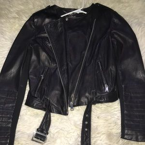 Black leather bebe jacket size Small
